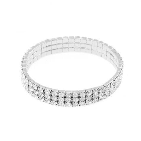 Bracciali 3 fili strass elastico