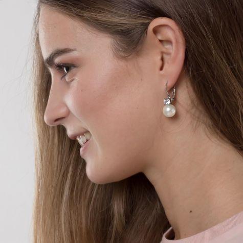 Orecchini monachella con perla e strass