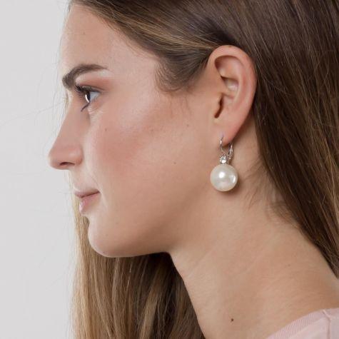 Orecchini monachella con perla grande e strass