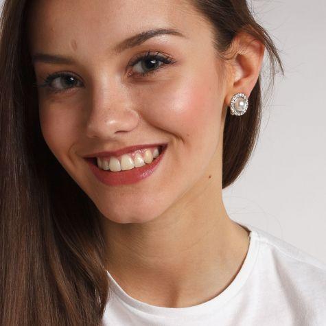 Orecchini clip bottone con perla e strass