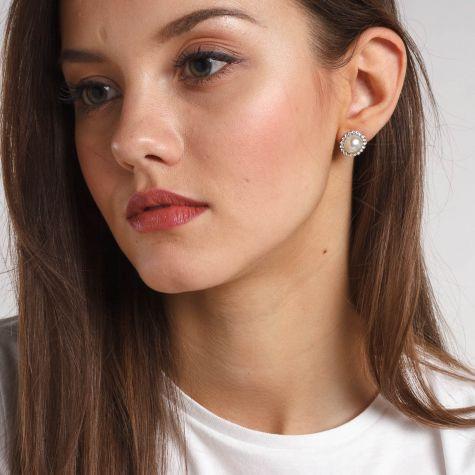 Orecchini clip con perla e bordo in strass