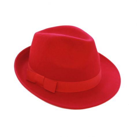 Cappello borsalino in lana color rosso con nastro