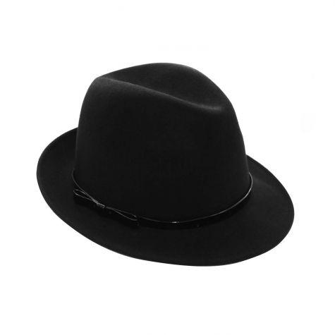Cappello borsalino con cinturino vernice