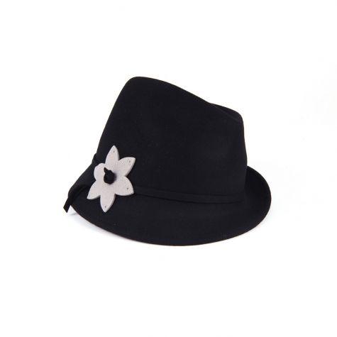 Cappello borsalino in lana con fiore