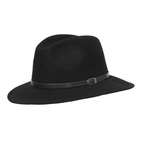 Cappello borsalino unisex in lana con cinturino