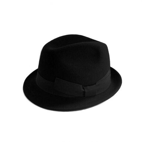 Cappello borsalino con nastro in lana