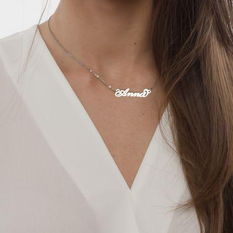 Collana con nome Anna con catenina sottile a ovali regolabile
