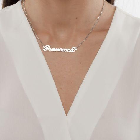 Collana con nome Francesca con catenina sottile a ovali regolabile