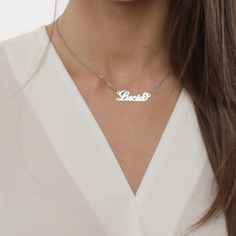 Collana con nome Lucia con catenina sottile a ovali regolabile