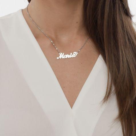 Collana con nome Maria con catenina sottile a ovali regolabile