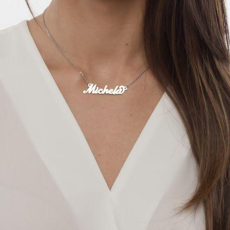 Collana con nome Michela con catenina sottile a ovali regolabile