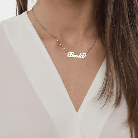 Collana con nome Paola con catenina sottile a ovali regolabile