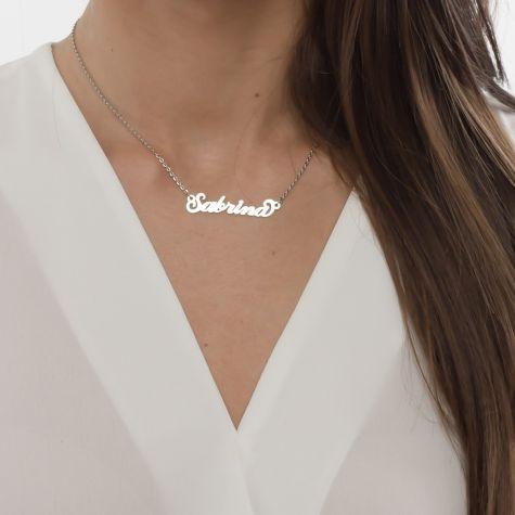 Collana con nome Sabrina con catenina sottile a ovali regolabile
