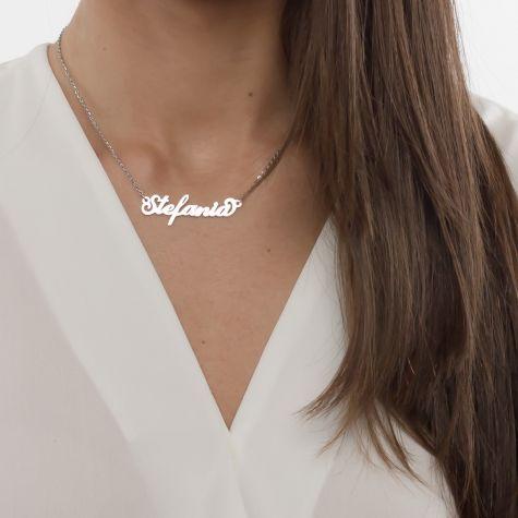 Collana con nome Stefania con catenina sottile a ovali regolabile