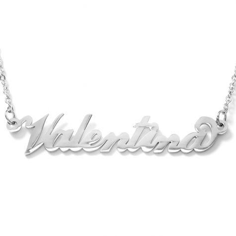 Collana con nome Valentina con catenina sottile a ovali regolabile