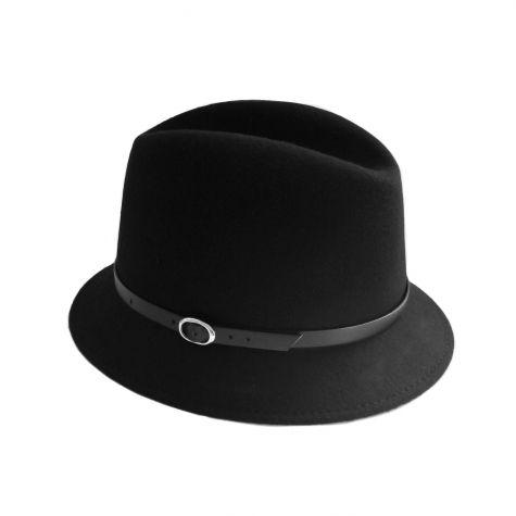 Cappello fedora in lana con laccio