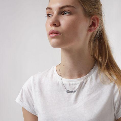 Collana con nome Emma con catenina sottile a ovali regolabile