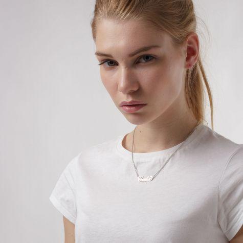 Collana con nome Greta con catenina sottile a ovali regolabile