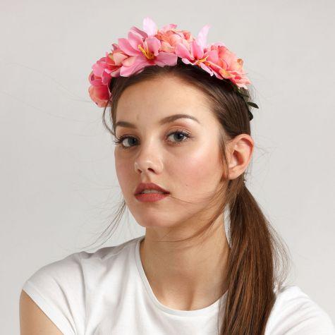 Coroncina di fiori color rosa/fucsia