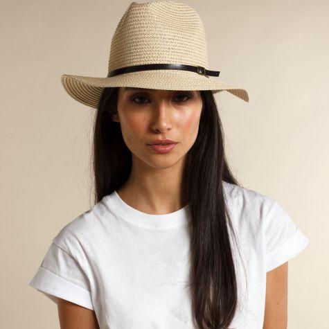 Cappello pamela color beige con laccio