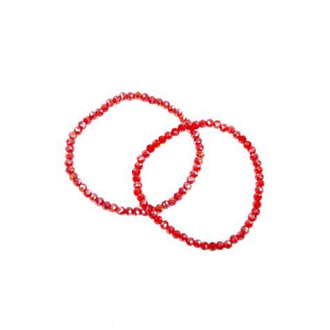 Due bracciali in vetro con sfere sfaccettate