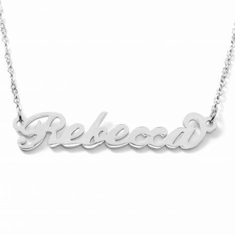 Collana con nome Rebecca con catenina sottile a ovali regolabile