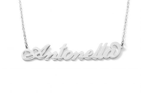 Collana con nome Antonella con catenina sottile a ovali regolabile