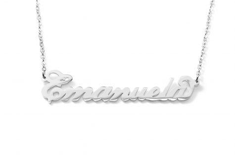Collana con nome Emanuela con catenina sottile a ovali regolabile