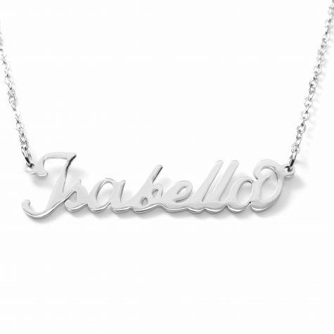 Collana con nome Isabella con catenina sottile a ovali regolabile