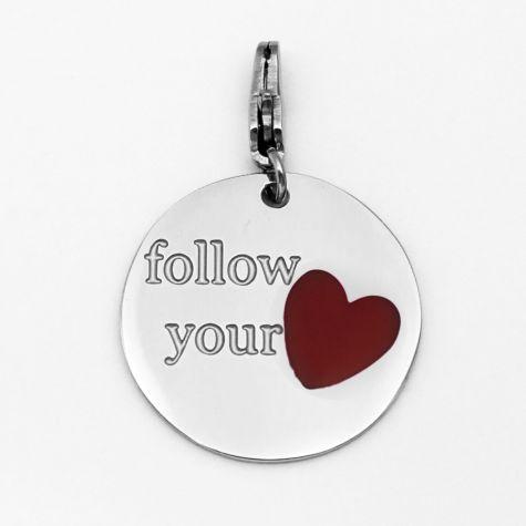 """Ciondolo """"Follow your..."""" con cuore rosso"""