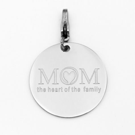 "Ciondolo ""Mom the heart of the family"""