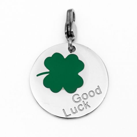 "Ciondolo ""Good Luck"" con quadrifoglio"