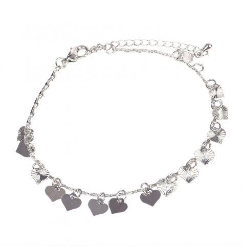 Cavigliera color argento con cuori pendenti
