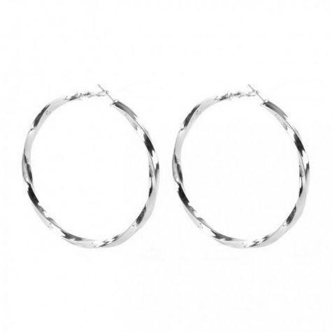 Orecchini cerchio malsagomato color argento