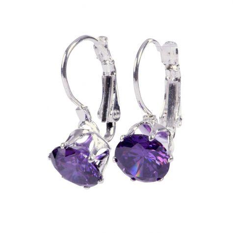 Orecchini monachetta con zircone color violetto