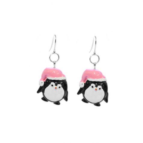 Orecchini con pinguino natalizio