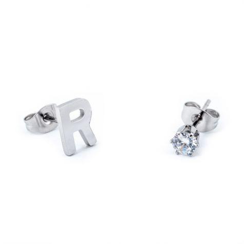 Orecchini con iniziale R e punto luce zircon in acciaio
