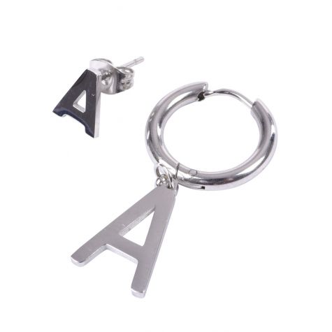 Orecchini con iniziale A in acciaio
