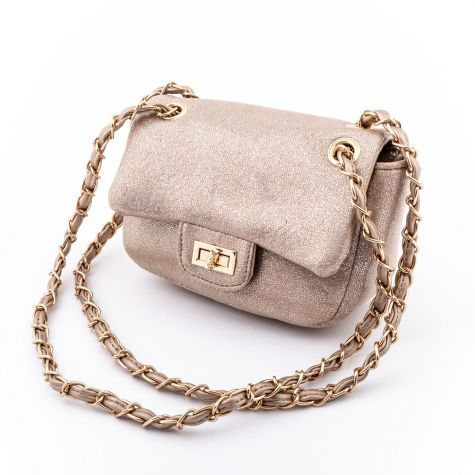 Borsa mini bag a tracolla con glitter color beige