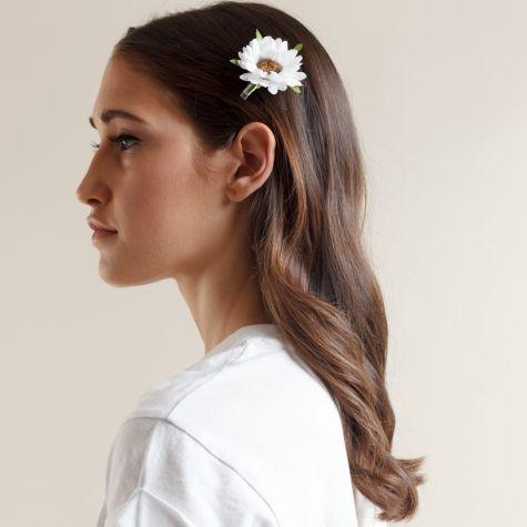 Fermacapelli con margherita color bianco