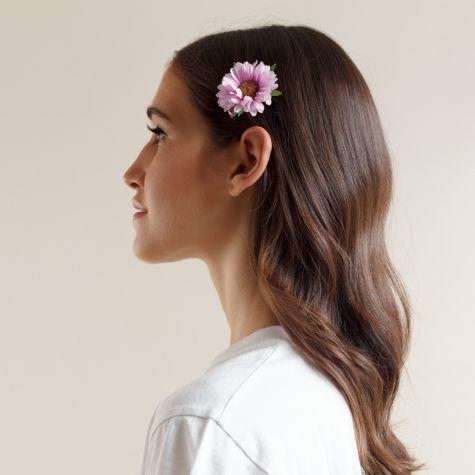 Fermacapelli con margherita color lilla