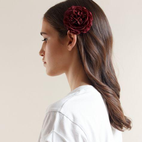 Spilla -fermacapelli con fiore color rosso