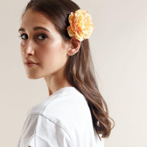 Spilla -fermacapelli con fiore color giallo