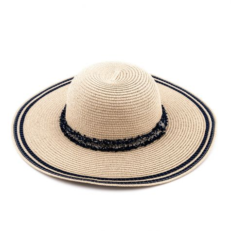 Cappello tesa larga con nastro blu