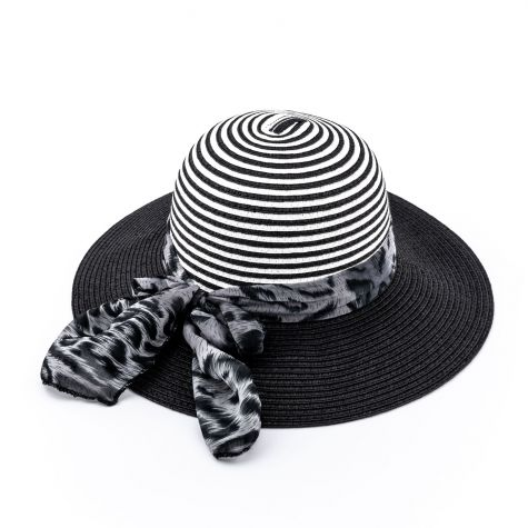 Cappello pamela con nastro maculato