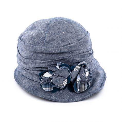 Cappello in lino con fiori color jeans