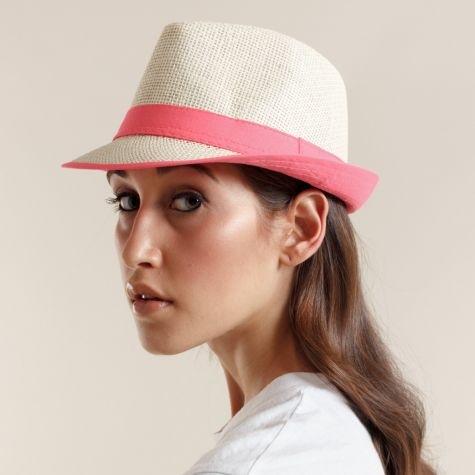 Cappello borsalino con nastro fluo
