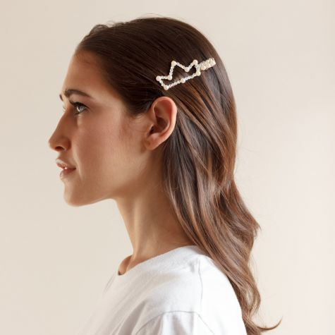 Becco con corona con perle color oro