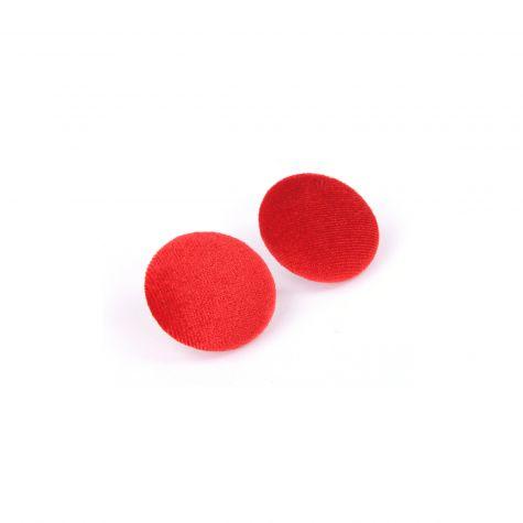 Orecchini bottone velluto color rosso
