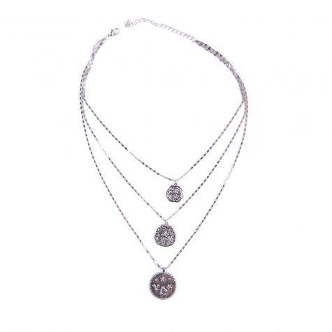 Collana 3 fili catena con medaglie geroglifici argento